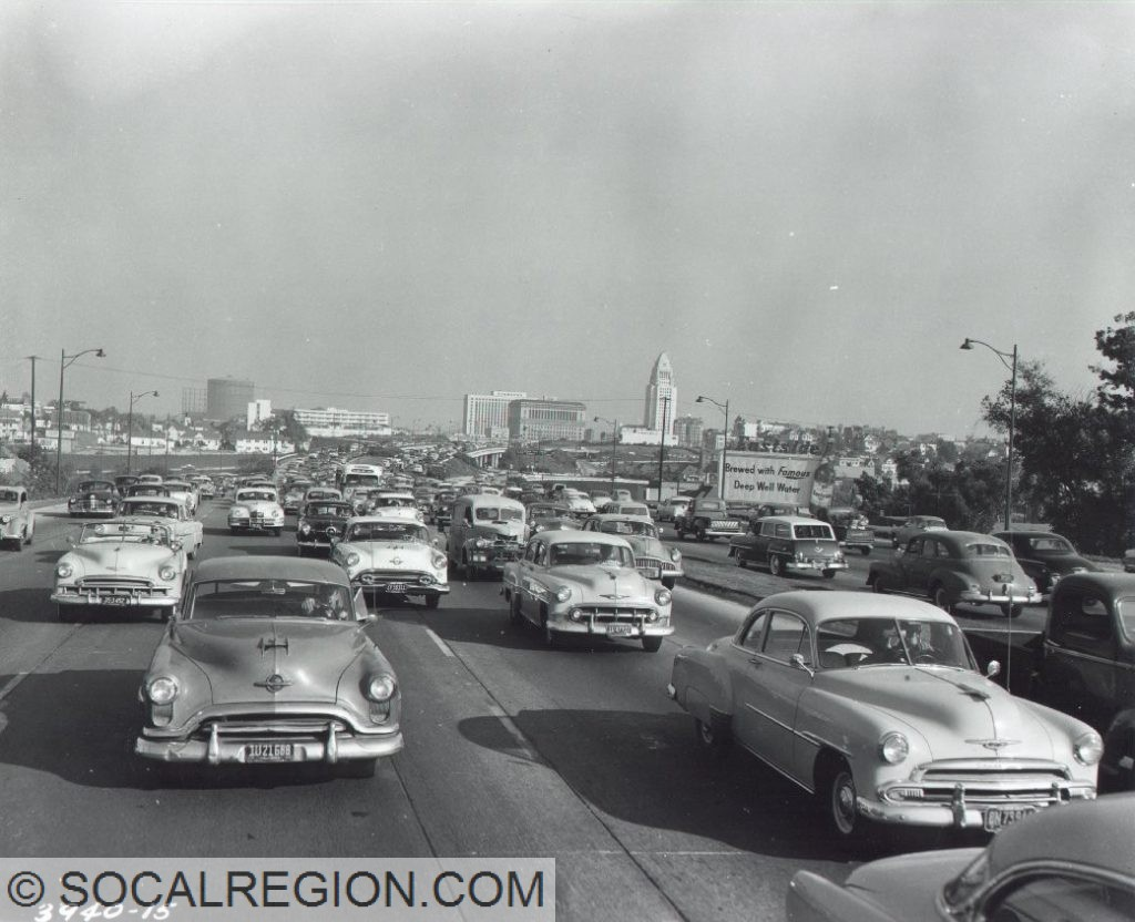 1954 view of US 101 at the Four Level Interchange, looking easterly toward Los Angeles City Hall.