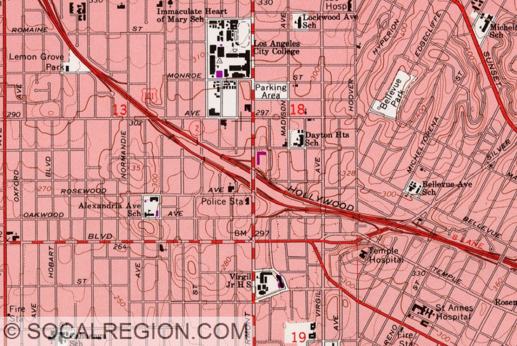 USGS map showing the interchange with Vermont Ave as built.