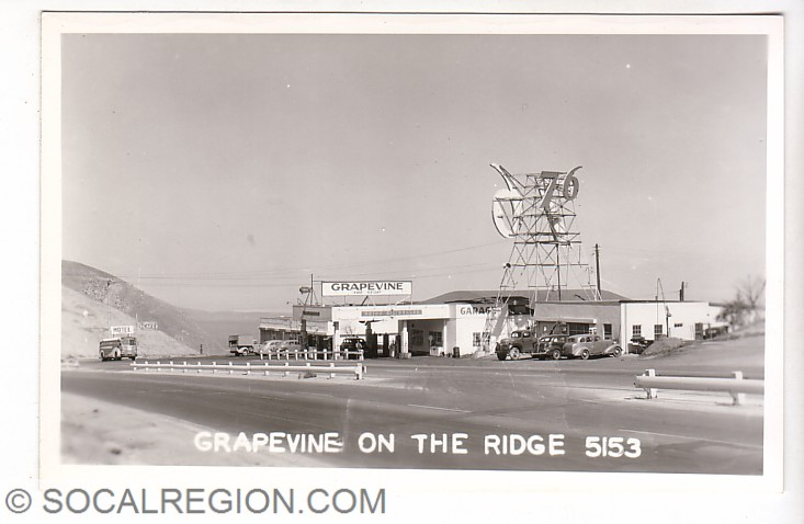 Grapevine Cafe and Gas Station between 1943 and 1946. Original wood and metal beam divider is visible here as well.