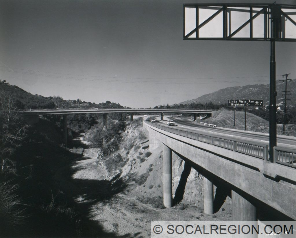 Looking west along the Foothill Freeway near the Linda Vista exit.