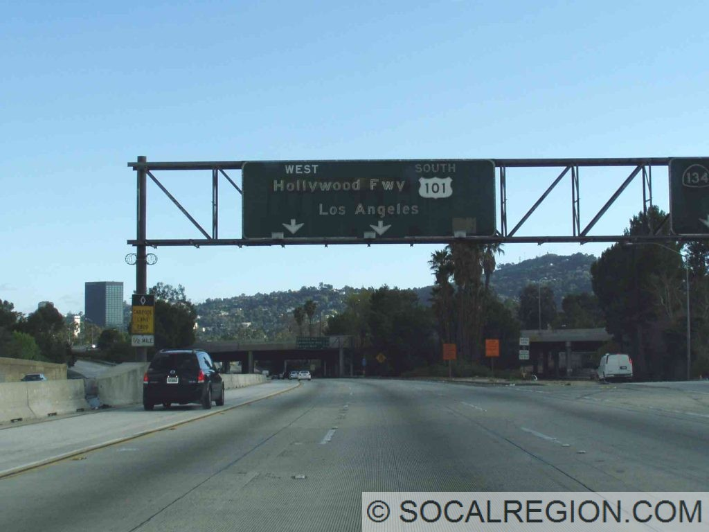 US 6 was originally going to be moved onto the Hollywood Freeway, but was cut short before it was opened. The WEST banner was for US 6.