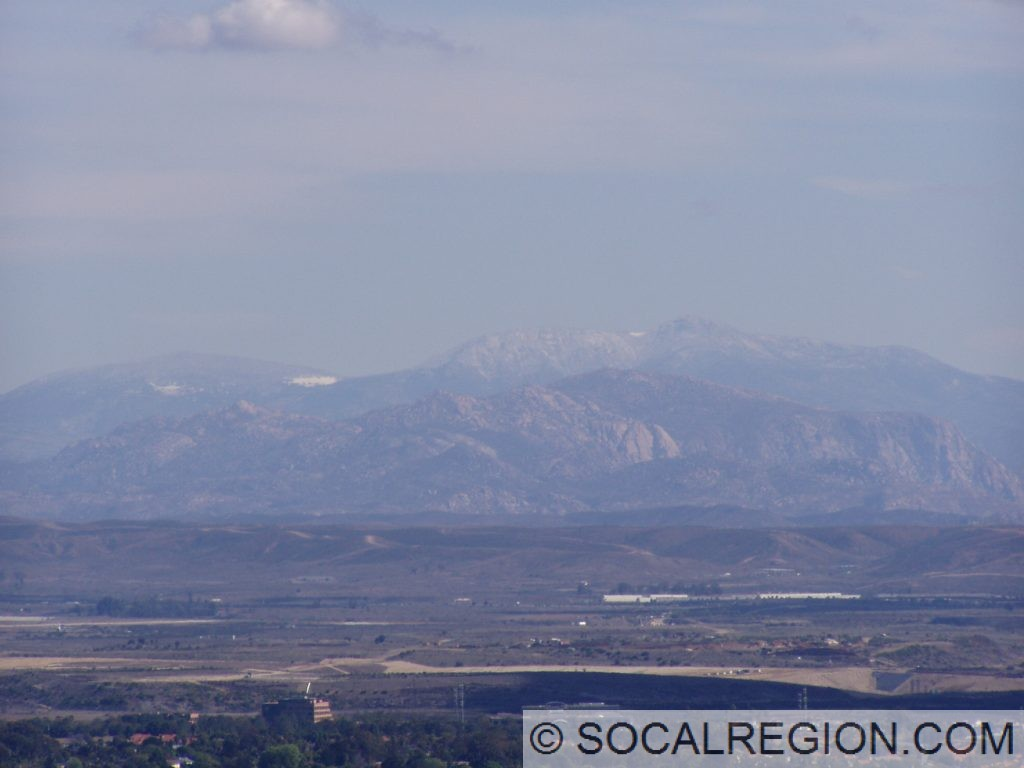 The distant Cuyamaca Mountains with some snow.