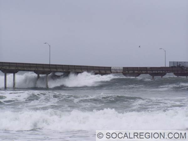 Ocean Beach Pier - January 2006 with high surf.
