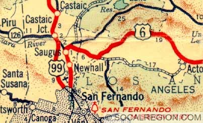 1939 map showing the Newhall / Saugus routing of US 6.