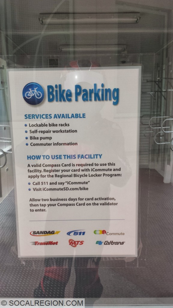 Parking instructions for the Sabre Springs bike locker.