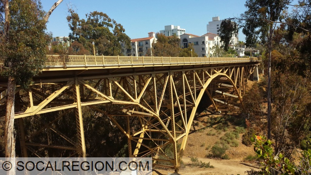 Side view showing the steel arch over Maple Canyon.