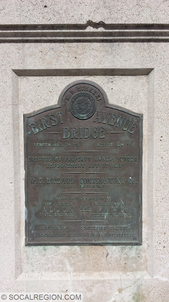 Dedication plaque on the south end of the bridge.