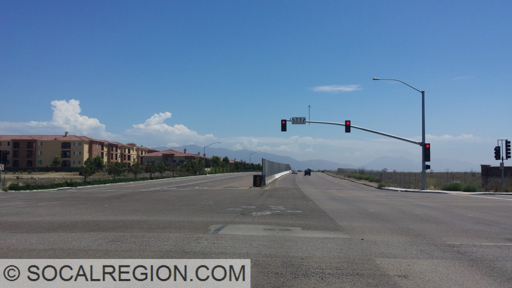 Old Otay Mesa Road at Caliente Ave. Note the unusual median barrier.