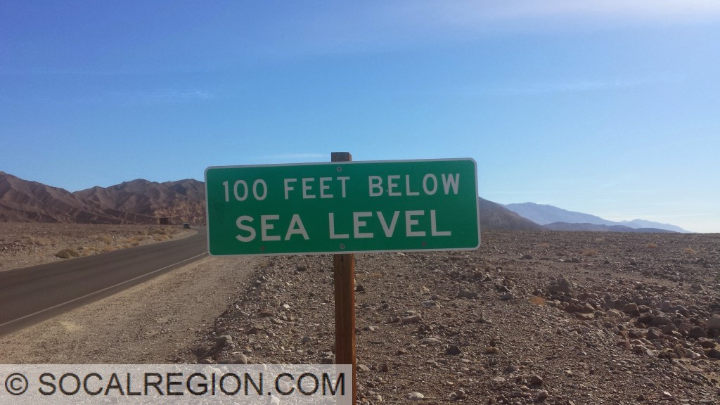 100' Below Sea Level in Death Valley near Furnace Creek.