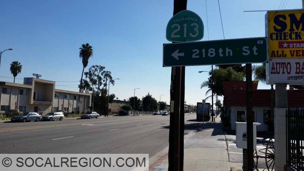 State 213 shield between Carson St and 220th St in Torrance.