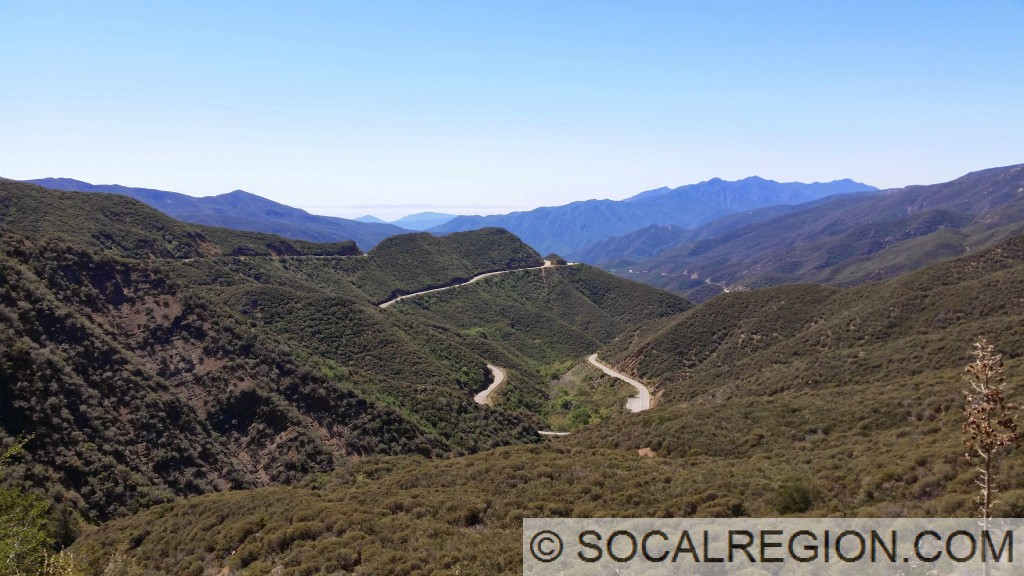 Hwy 33 snaking south toward Ojai from the summit near Rose Valley.