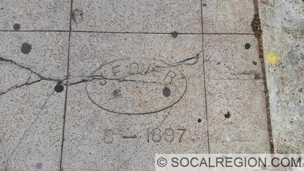 Sidewalk dating to May 1897 on Fifth Ave near Quince St in San Diego, CA.