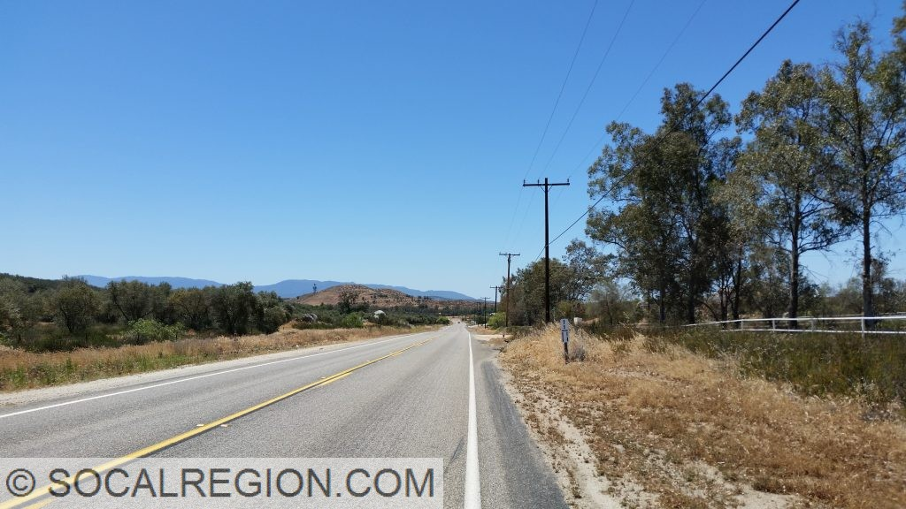 About 10 miles south of Hemet.