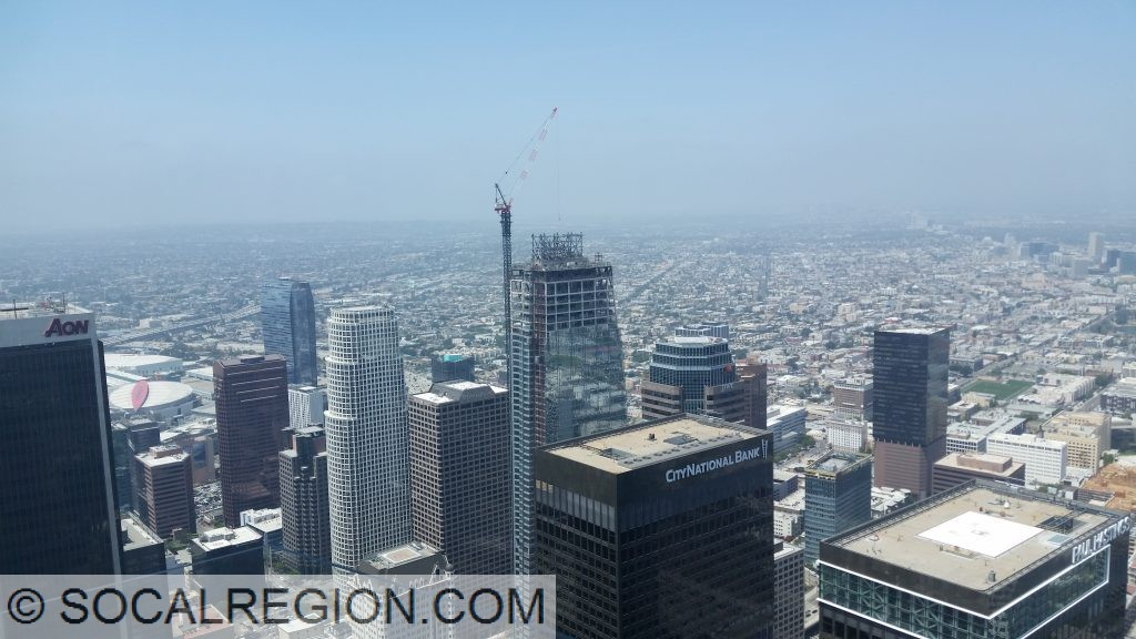 Southwestern Downtown Los Angeles from the US Bank Tower - SkySpace-LA. The building under construction in the Wilshire Grand Tower, soon to be taller, but not actually higher than the US Bank Tower.