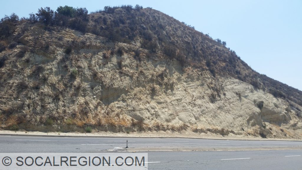 Easily eroded Saugus Formation conglomerates and shales near Placerita Canyon Road on Sierra Highway