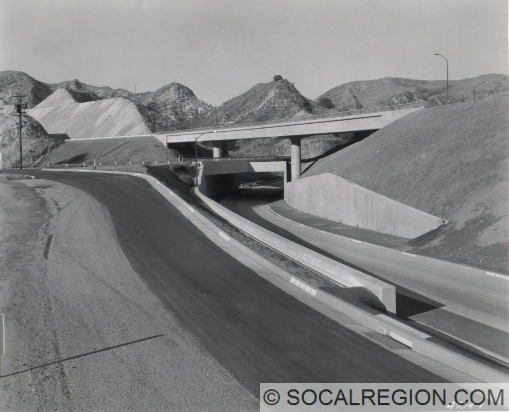 Newly completed three-level interchange with US 6 and US 99 in 1955.