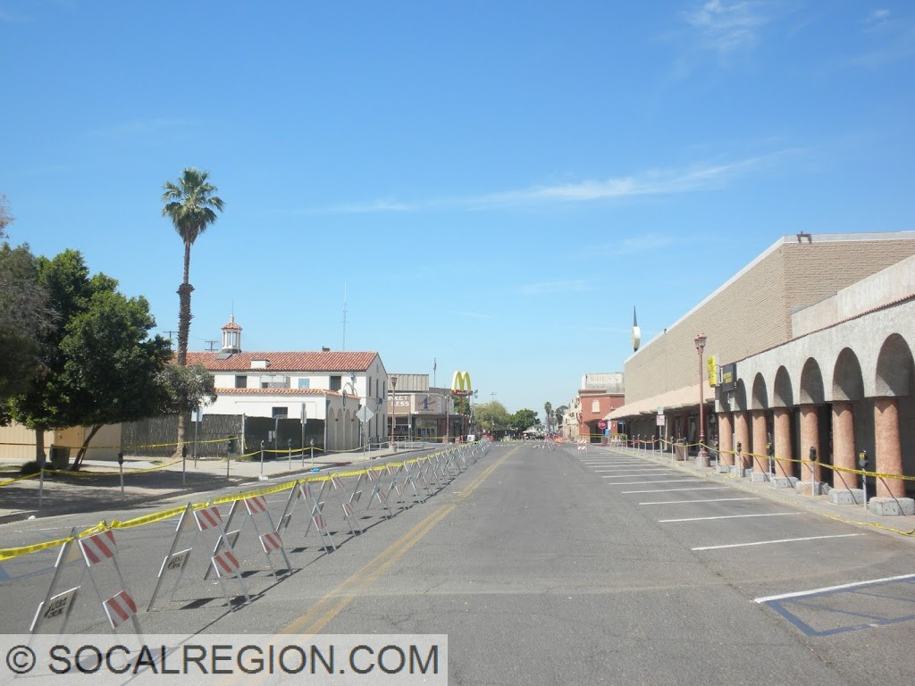 An empty and closed off downtown Calexico.