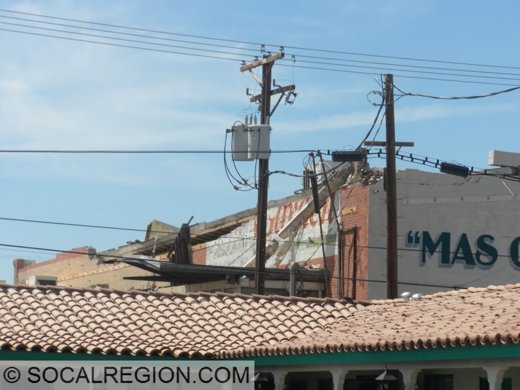 Partially collapsed roof and wall in Calexico.