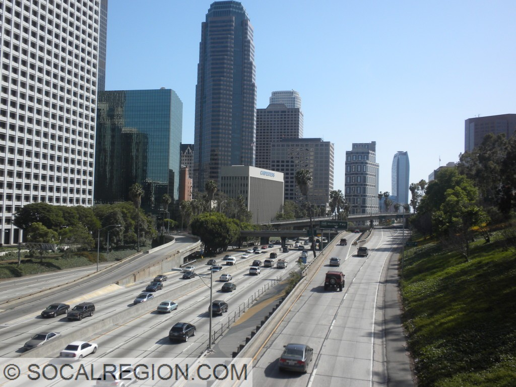 Harbor Freeway through Downtown Los Angeles, looking south from 4th St.