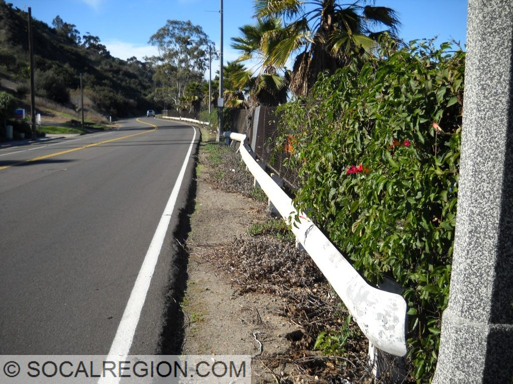 Original 1950's guard rail in Mission Valley near Taylor Road.