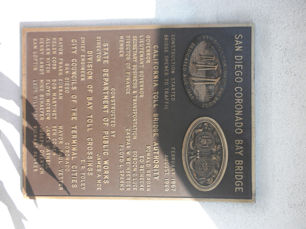 Dedication plaque for the San Diego - Coronado Bay Bridge. Project was started under Governor Edmund G. Brown.