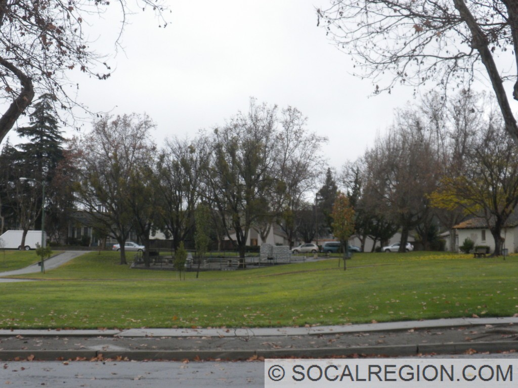 Through Dunne Memorial Park, the low fault scarp becomes quite visible.