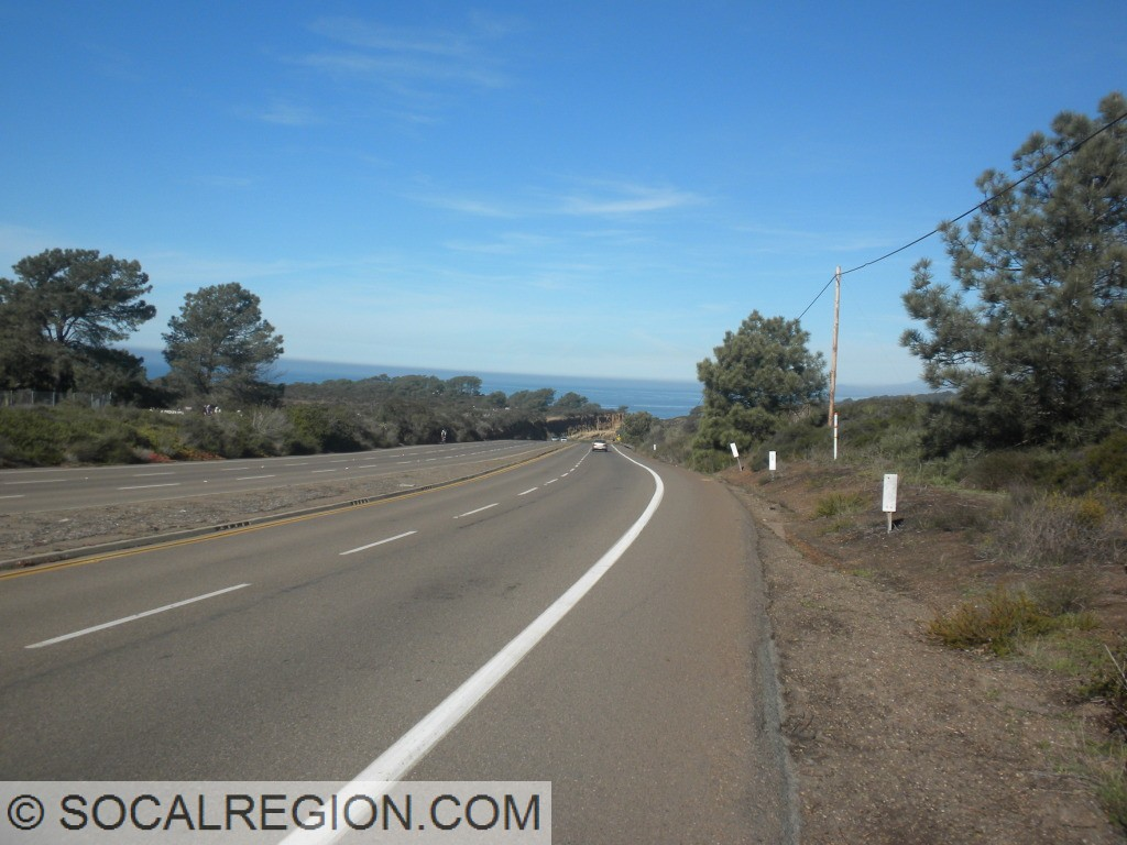 Top of Torrey Pines Grade, clear skies ahead.