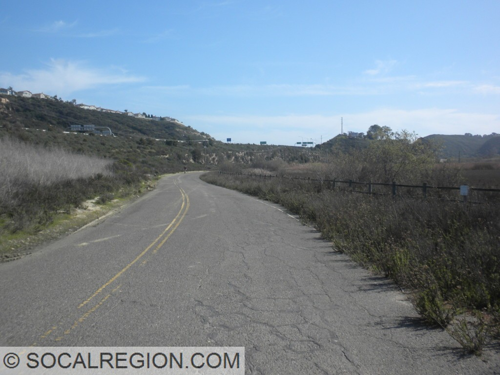 Section of Sorrento Valley Road with striping still intact. Now a bicycle/pedestrian path.