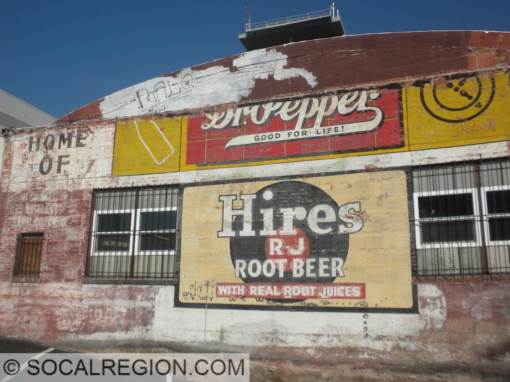 Dr Pepper and Hires sign at an old bottling plant