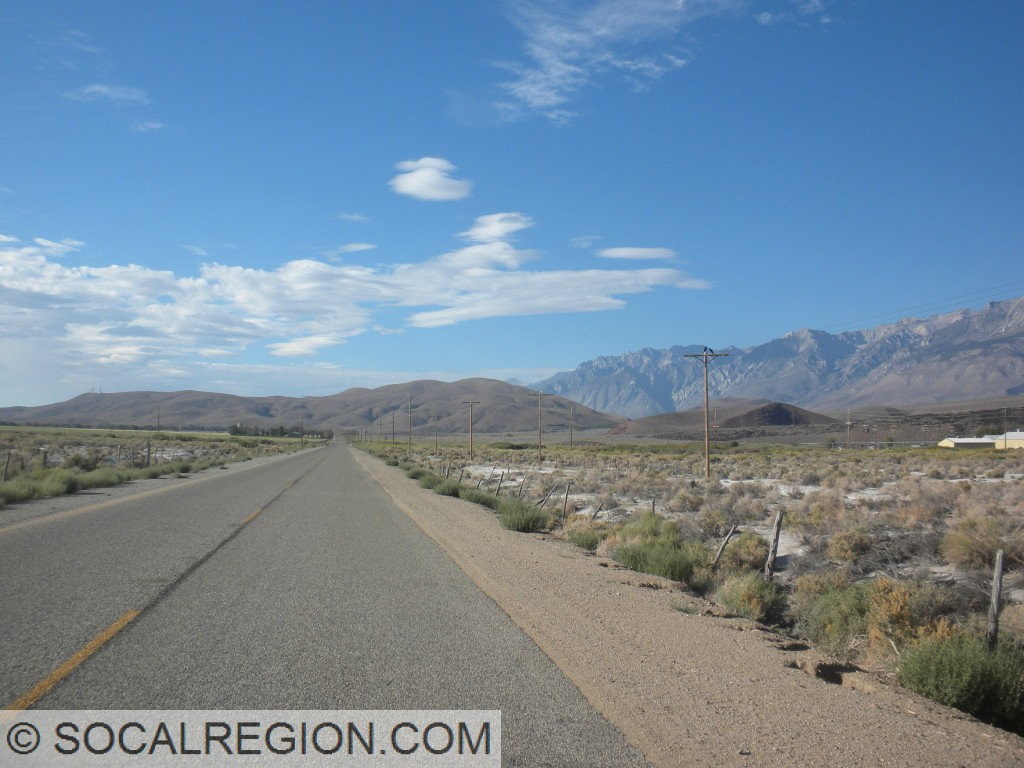 Looking south along Fish Springs Road toward the Poverty Hills.