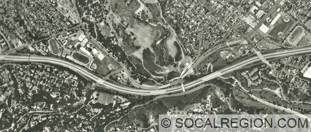 1999 Aerial photo showing I-210 and old State 118 (above). Arroyo Blvd interchange is visible on the right side of the image.