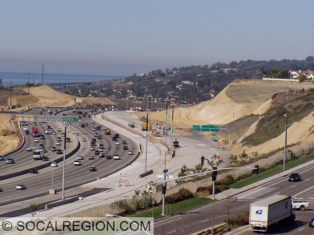 "Construction in 2006 of the new ""Merge"" and bypass lanes at I-805."