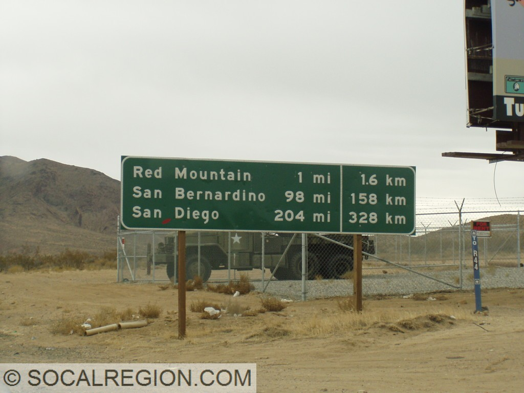 Mileage with Kilometers at the San Bernardino / Kern County line in Johannesburg.