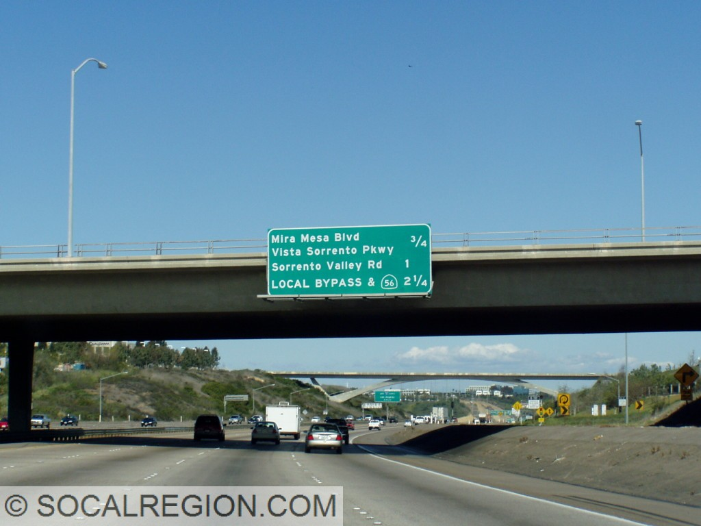 Local Bypass signage heading northbound at La Jolla Village Dr / Miramar Road.