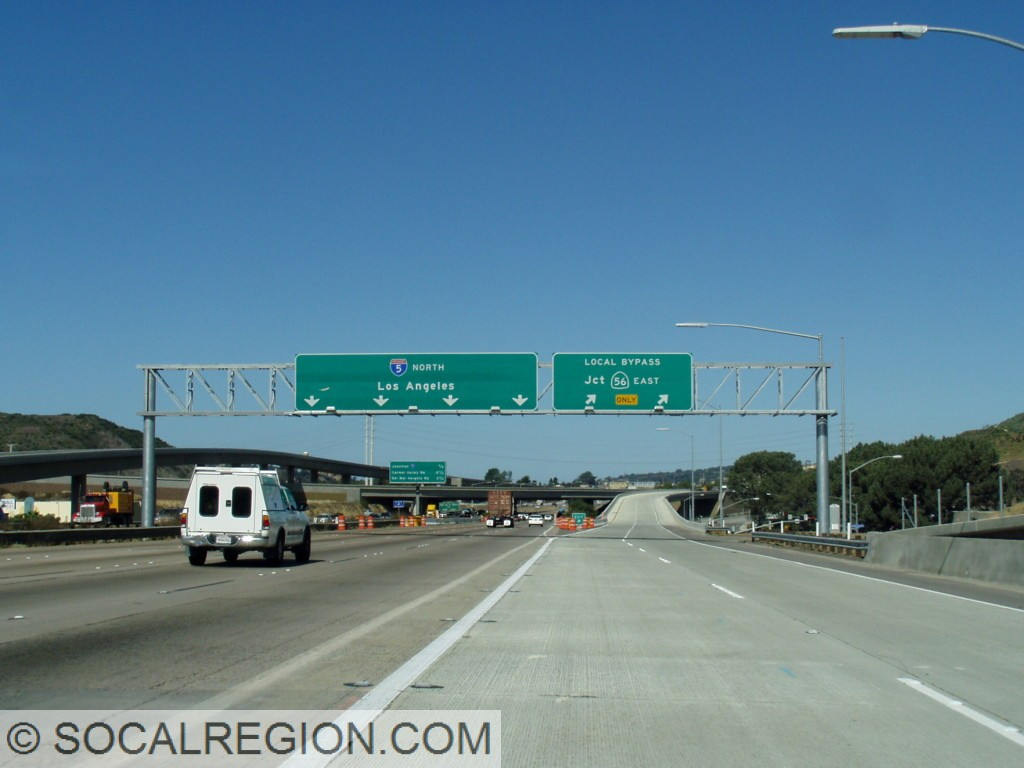 "Northern end of I-805 with ""Local Bypass"" signage for the State 56 exit."
