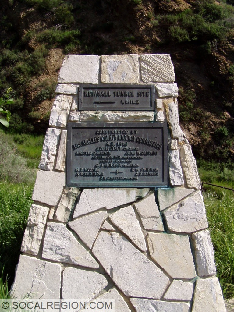 Newhall Tunnel dedication plaque. Probably relocated here in 1939 after the tunnel was removed.