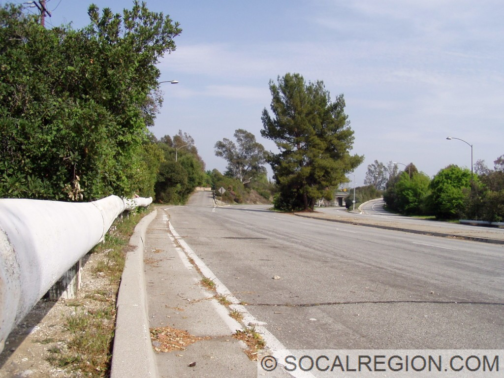 1950's railing and the former freeway near Arroyo Blvd.