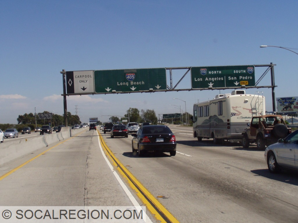 405 south at the 110. Many overlays here with the Carpool lane formerly ending here and the 110 used to be State 11.