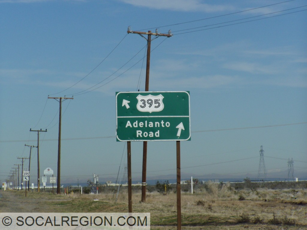 Older signage at the south end of Adelanto. The original alignment follows Adelanto Road.