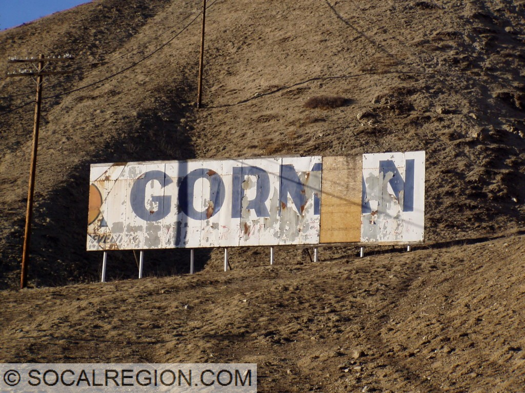 Former sign for Gorman just south of town.
