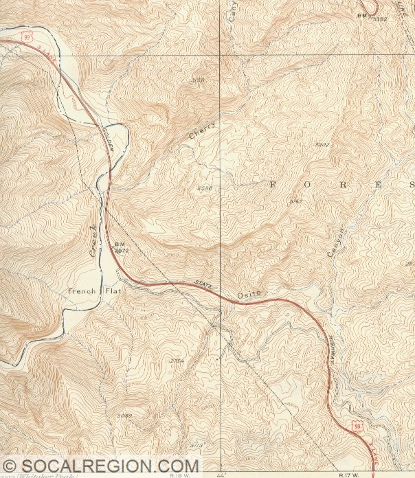 1930's map showing Piru Gorge and Frenchman's Flat (identified as French Flat).