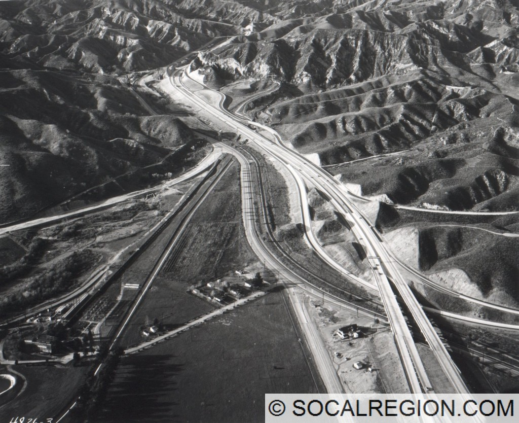 1956 view of the Golden State Freeway from Sepulveda Junction to near Sunshine Canyon. Courtesy - Caltrans.
