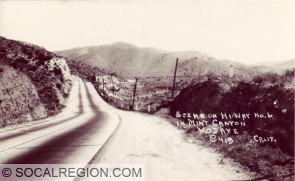 1920's view of the concrete paving just east of Soledad Canyon Road.