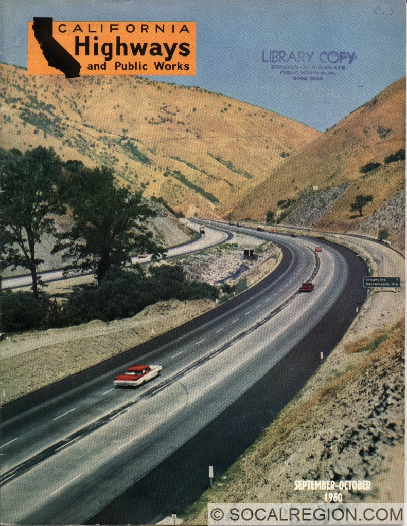 1960 California Highways and Public Works cover photo showing the newly completed I-5 through Grapevine Canyon.