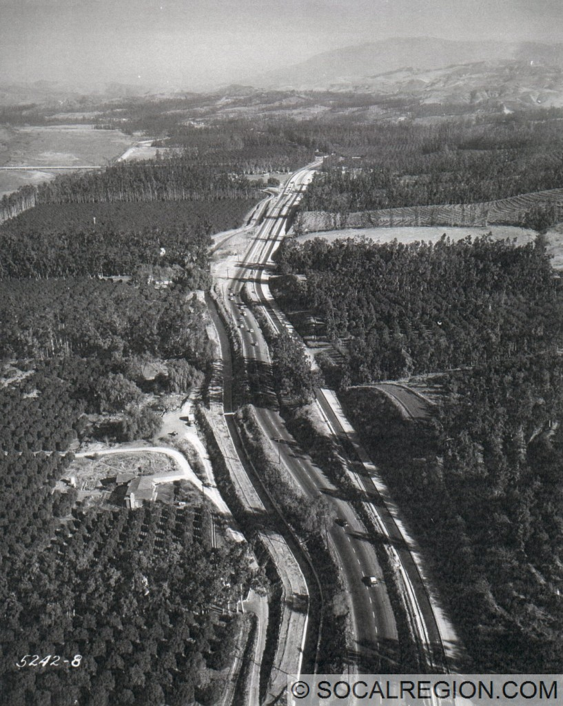 Former US 91 at Imperial Highway in the 1950's. This is now Santa Ana Canyon Road. Looking east.