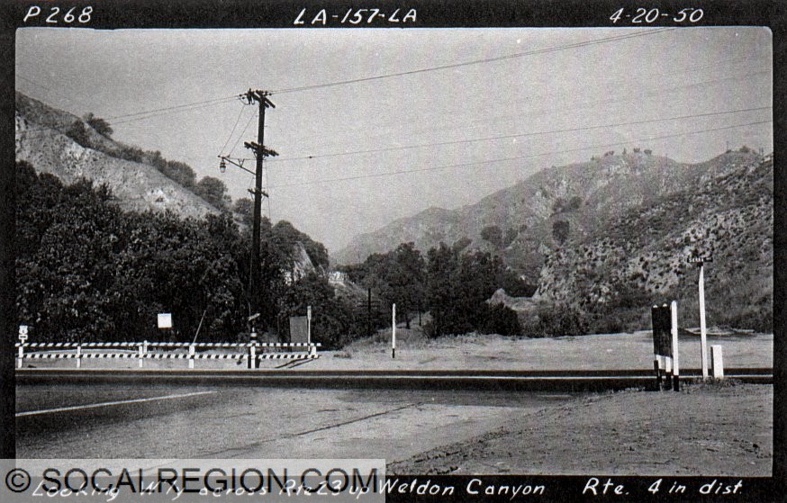 Looking up Weldon Canyon from the old end of Foothill Blvd at Sierra Highway in 1950.