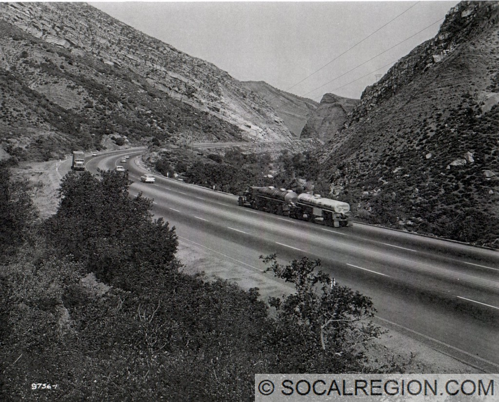 1963 view of Piru Gorge, looking toward Pyramid Rock.
