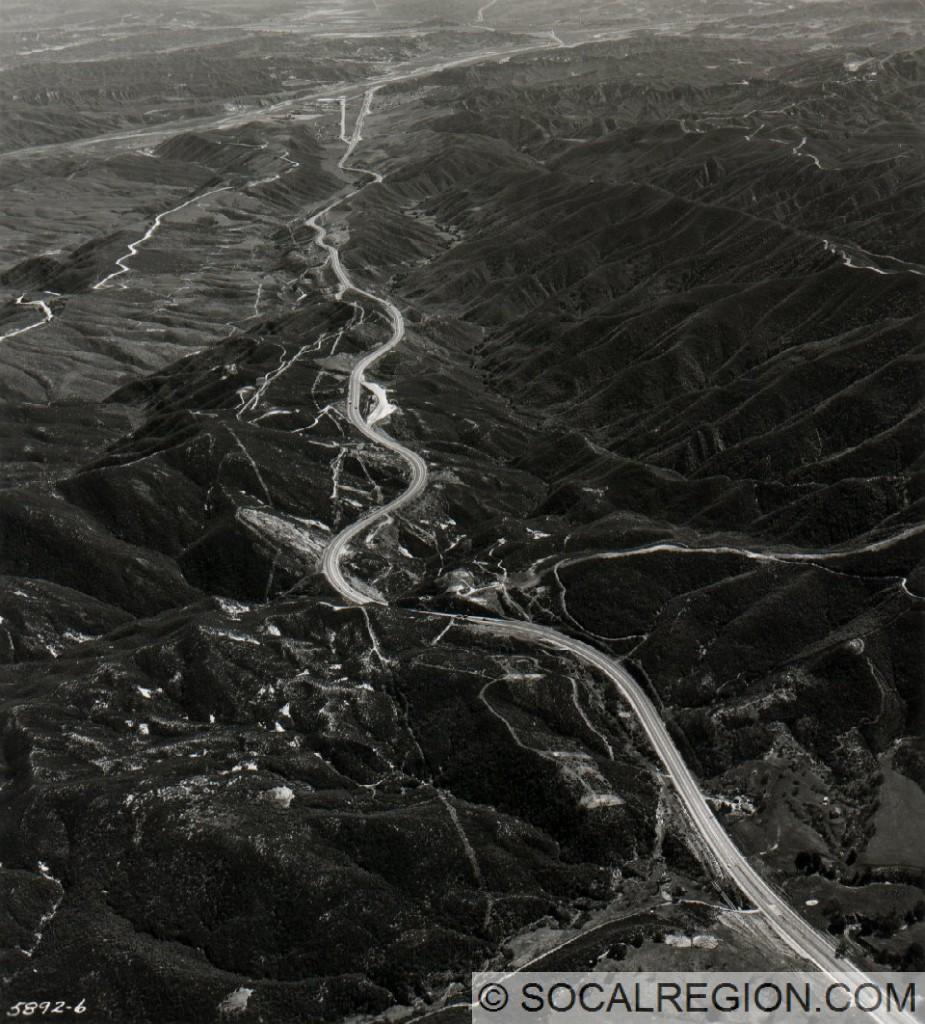 Five Mile Grade from Violin Summit in 1958. Courtesy - Caltrans.