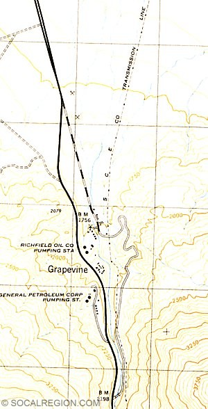 Map of Grapevine Canyon from 1943. Road to the right is the original 1915 route.