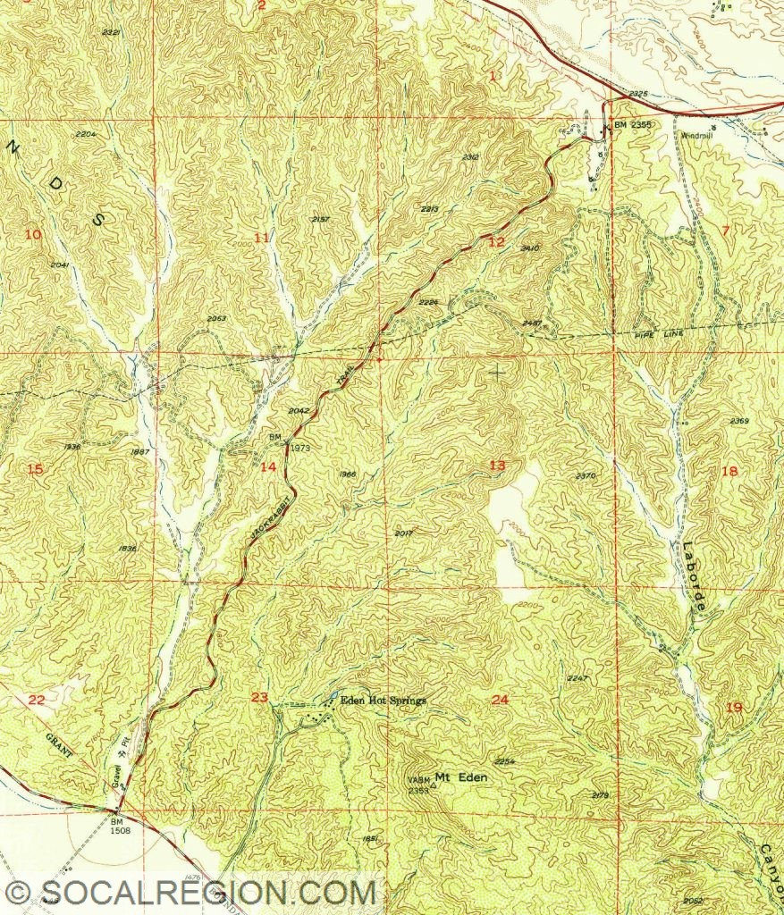 1953 topographical map showing Jackrabbit Trail between US 60 and Gilman Springs Road.